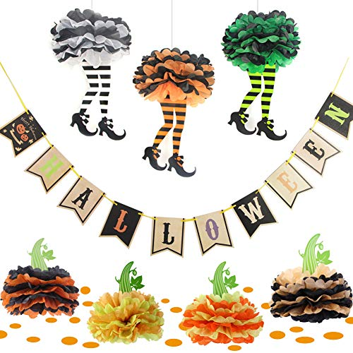 Easy Joy Halloween Party Decorations Witch's Boot DIY Paper Pom Poms Flowers Pumpkin Shape Paper Confetti Orange Table Centerpiece -