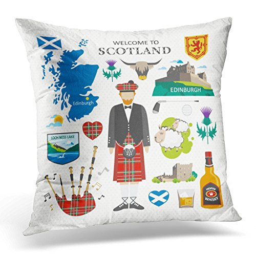 Golee Throw Pillow Cover Red Map Welcome to Scotland Travel Collection Arms Loch Decorative Pillow Case Home Decor Square 20x20 Inches Pillowcase