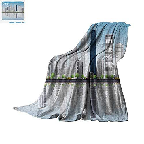 "Chicago Skyline Throw Blanket Skyscrapers Lake Michigan Illinois Classic American Scenery Street Print Artwork Image 60""x50"" Baby Blue Pale Grey"