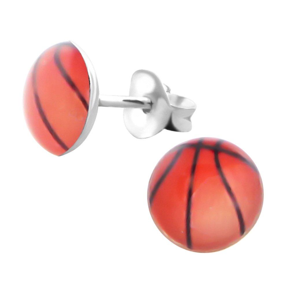 Laimons Kids Bijou pour enfant boucles d'oreilles pour enfant élément plat/rond avec ballon de basket élément plat/rond argent sterling 925 OS1237