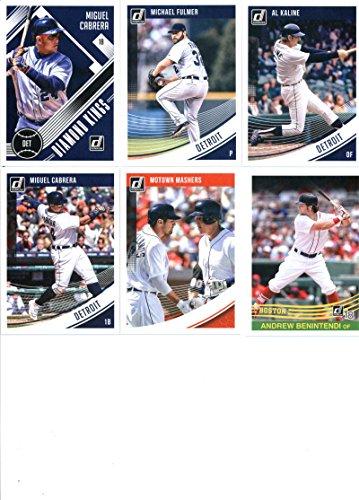 2018 Donruss Baseball Detroit Tigers Team Set of 6 Cards: Miguel Cabrera(#9), Michael Fulmer(#109), Al Kaline(#110), Miguel Cabrera(#156), Miguel Cabrera/Nick Castellanos(#208), Miguel Cabrera(#237) - (Tigers Team Card)