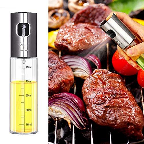 Olive Oil Sprayer Bottle Food-grade Glass Oil Spray Portable Vinegar Bottle Oil Dispenser for BBQ, Salad, Baking, Roasting, Grilling, Frying,  3.4-Ounce
