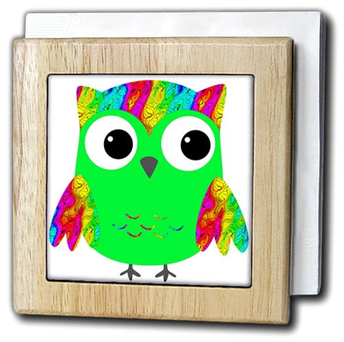 Anne Marie Baugh Sixties Owls – Cute PsychedelicとネオングリーンSixties Owls – タイルナプキンホルダー 6 inch tile napkin holder nh_78328_1 6 inch tile napkin holder  B00A9DM5GU