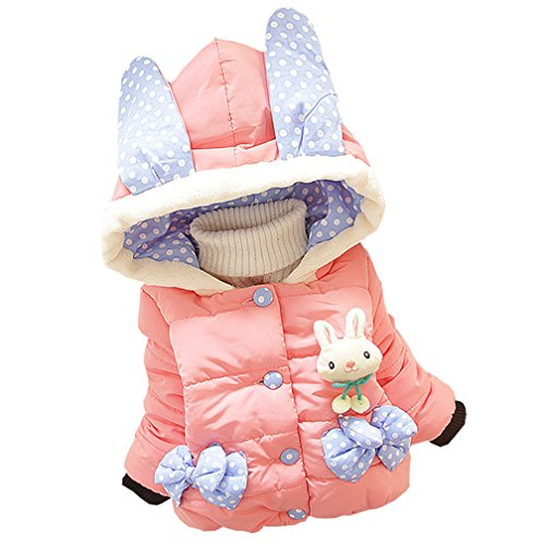 Baby Girls Winter Autumn Cotton Warm Rabbit Jacket Coat (3T, Pink)