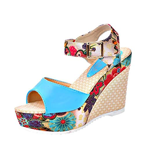 (Respctfu✿ Casual Shoes for Women High Chunky Block Heel Sandals Boho Print Ankle Strap Slip-On Pump Wedge Shoes)