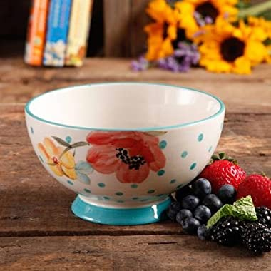 The Pioneer Woman Flea Market 6  Decorated Footed Bowls, Bloom Dots Turquoise, Set of 4