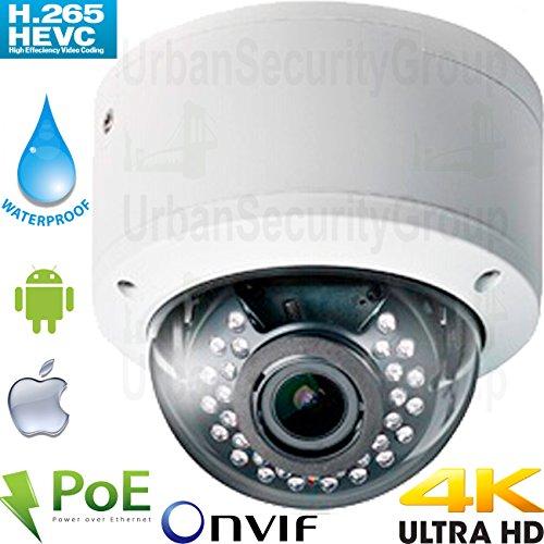 8 Mm Vari Focal Manual - USG Ultra 4K UHD 8MP H.265 IP Network Dome Security Camera : 3840x2160, 8MP 3.3-12mm Manual Vari-Focal Lens, Power over Ethernet, IR LEDs, Vandal & Weatherproof, ONVIF : View On Phone + Computer + NVR