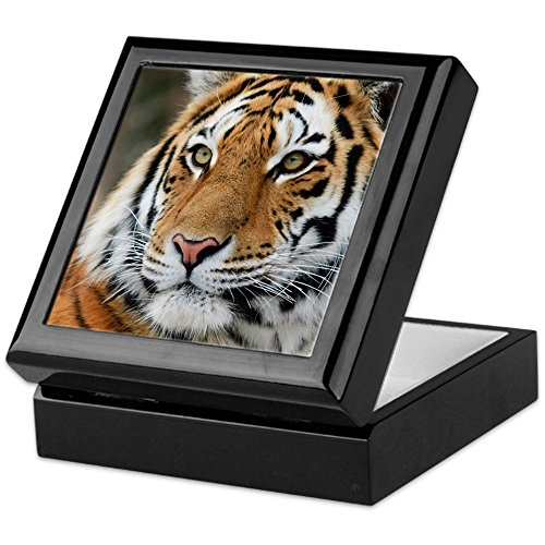 (CafePress - Tiger - Keepsake Box, Finished Hardwood Jewelry Box, Velvet Lined Memento Box)