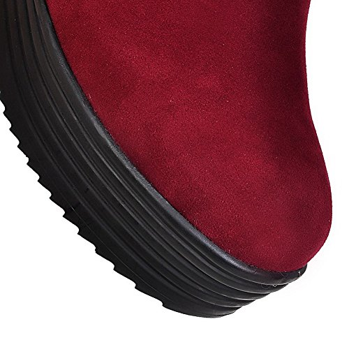AgooLar Women's Pull-On Round Closed Toe High-Heels Imitated Suede Low-Top Boots Claret Z5uhbC