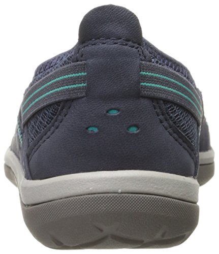 Clarks Womens Air Pump Flat Navy Nubuck Pop