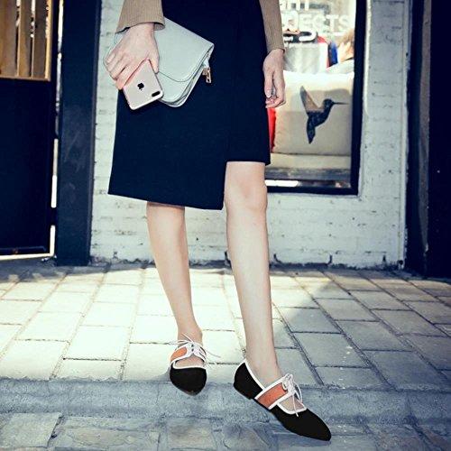 COOLCEPT Zapato Mujer Mary Jane Tacon Bajo Prom Dedo Del Pie Cerrado Cordones Fiesta Court Zapato Negro