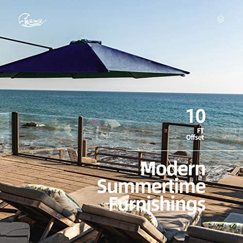 Wikiwiki Offset Cantilever Umbrella 10ft Patio Umbrella Outdoor Hanging Umbrella