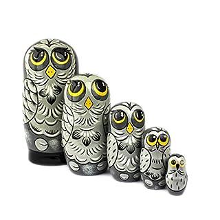 Heka Naturals Russian Nesting Dolls, 5 Traditional Matryoshka | Babushka Wooden Dolls, Hand Made in Russia (5 Dolls Owl)