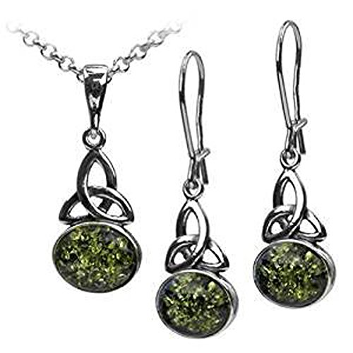 Green Amber Sterling Silver Celtic Oval Pendant Earrings Necklace Set Chain 18