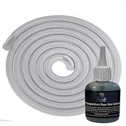 Estufa cuerda de 9 mm x 2 m de longitud con lengüetas adhesivas chimeneas sellos de