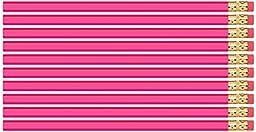 Deep Pink Hexagon #2 Pencil, Eraser. 36 Pack. Express Pencils TM