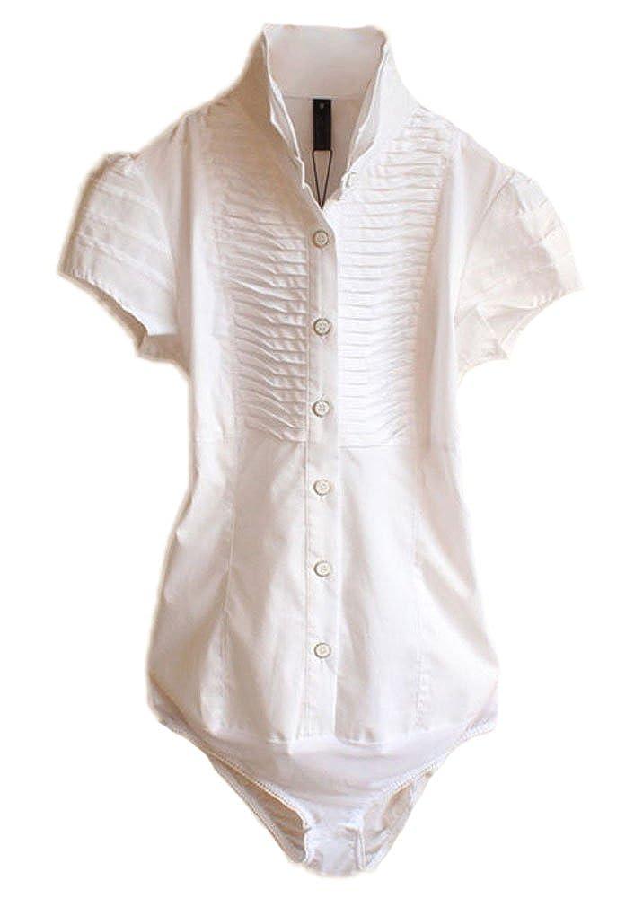 e1cfcd48a911ff Amazon.com: Soojun Women Short Sleeve Button Down Career Shirt Bodysuit  Blouse, US 8 White #3: Clothing