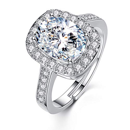 Swarovski Multi Ring Color Crystal - Mock ST Swarovski Crystal Rings for Women Girl Cubic Zirconia Diamond Exquisite Platinum Plated Adjustable Size with Jewelry Gift Box