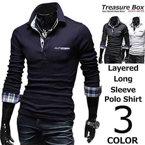 (トレジャーボックス) Treasure Box ゴルフウェア メンズ ポロシャツ 長袖 重ね着