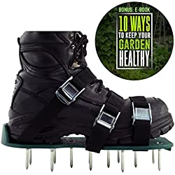 Lawn Aerator Shoes: Soil Aeration | Spike Sandals with 3 Adjustable Straps, Zinc Alloy Buckles | Great for Garden Care or Yard Maintenance | Effective Aerating for Greener Grass | BONUS : E-BOOK