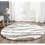 Safavieh Barcelona Shag Collection BSG321A Handmade Ivory and Silver Polyester Round Area Rug, 5-Feet in Diameter