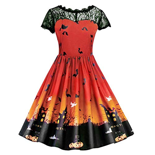 Clearance Halloween Dress, Forthery Women Pumpkin Skater Swing
