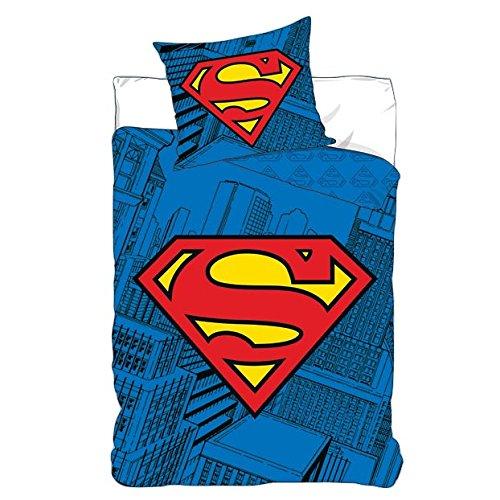 DC Comics Superman Logo Bed Linen - Single Duvet Cover 140 x 200 cm Pillowcase 63 X 63 cm