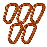 Fusion Climb Contigua Modified Straight Gate Modified D Shape Carabiner Orange  5-Pack