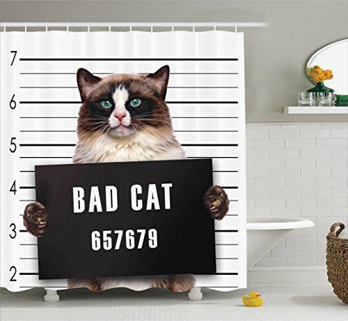- Ambesonne Cat Lover Decor Shower Curtain Set, Bad Gang Cat in Jail Kitty Under Arrest Criminal Prisoner Hangover Artsy Work, Bathroom Accessories, 75 Inches Long, Brown Black White