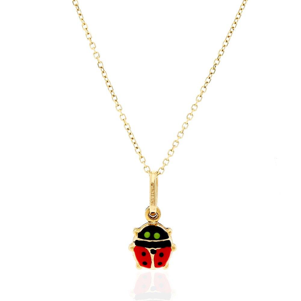 0.7 14k Yellow Gold Red Enamel Ladybug Charm Pendant 0.5 0.6