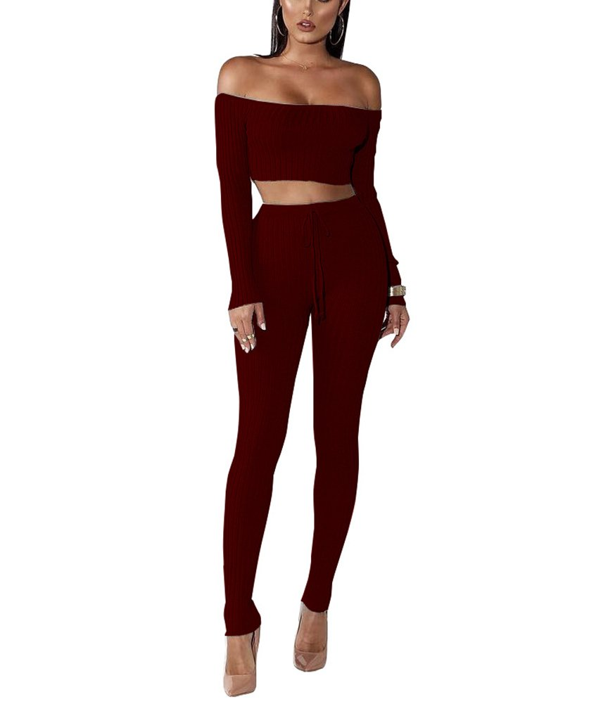 Mycherish Women's 2 Piece Outfits Ribbed Off Shoulder Crop Top + Skinny Pants Sets
