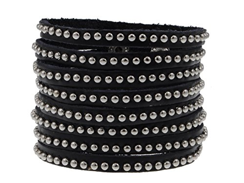 Alilang Black Faux Leather Multi Strand Silvery Studded Beads Snap On Arm Cuff Bracelet