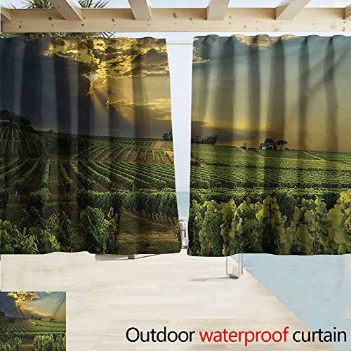Winery Outdoor Grommet Top Curtain Panel Sunset over the Vineyards of the South of France Sunbeams Cloudscape Picture Perfect For Your Patio, Porch, Gazebo, or Pergola W55