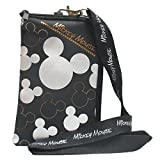 Disney Mickey Mouse Black Silver Lanyard with Cell Phone Case or Coin Purse (1 Lanyard)