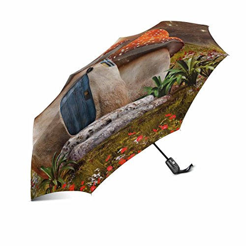 InterestPrint Fantasy Mushroom Cottage with Dragonfly on Colorful Meadow Windproof Auto Open and Close Foldable Umbrella, Lightweight Portable Outdoor Sun Umbrella with UV (Fantasy Cottage)