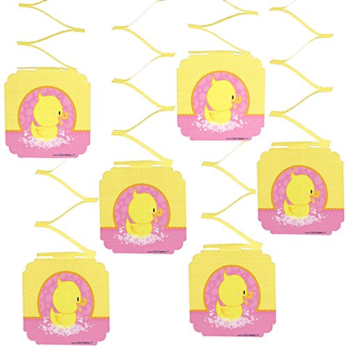 Big Dot of Happiness Pink Ducky Duck - Girl Baby Shower or Birthday Party Hanging Decorations - 6 Count ()