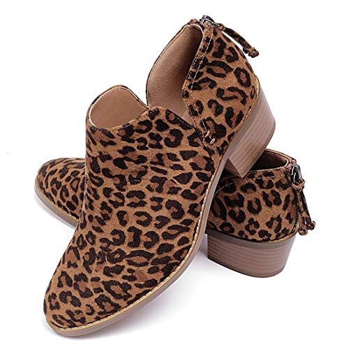 Susanny Ankle Boots for Women Zipper Work Booties Chunky Low Heels Slip on Shoes Leopard 8.5 B (M) US