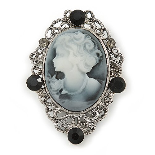 (Vintage Inspired Crystal 'Lady' Grey Cameo Brooch/Pendant In Antique Silver Tone - 50mm L)