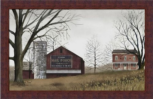 Mail Pouch Barn by Billy Jacobs Primitive Folk Art Farm 22x14 in Framed Art Print (Folk Art Farm)