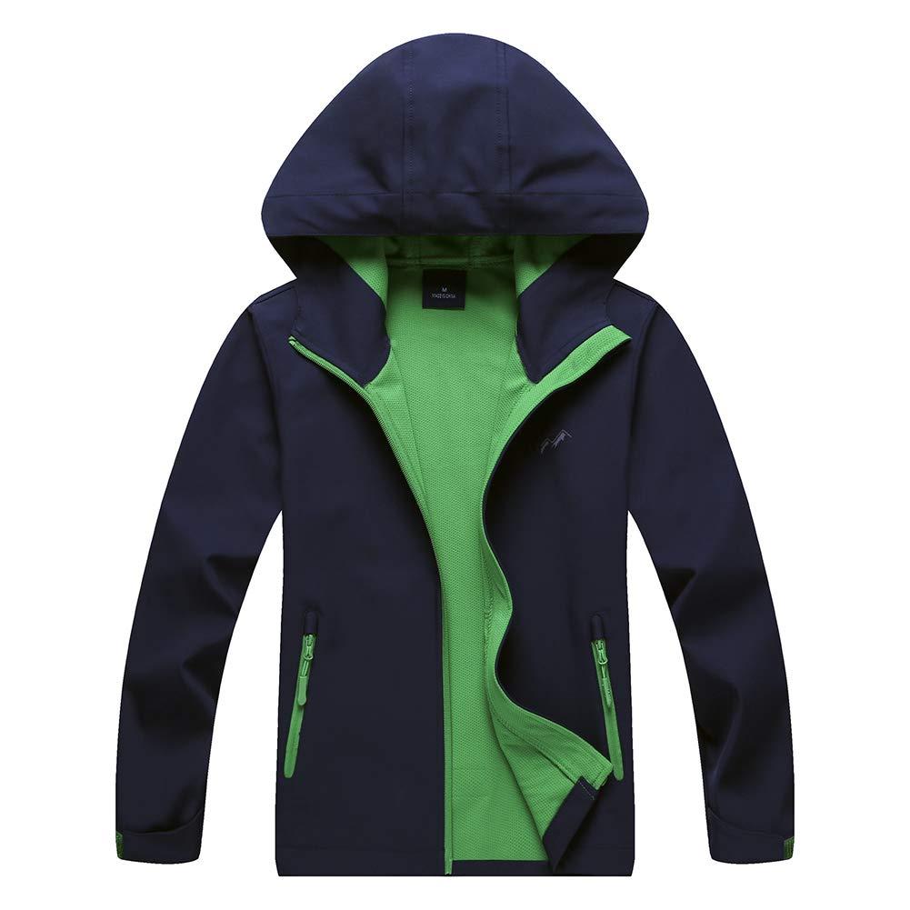Jingle Bongala Kids Boys' Girls' Raincoat Waterproof Jacket Rain Jackets with Hood Outdoor Jacket Outerwear-Nblue-120
