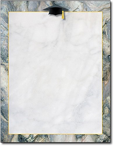 Marble Grad Hat Stationery Letterhead Paper - 80 Sheets - Great Papers Invitations