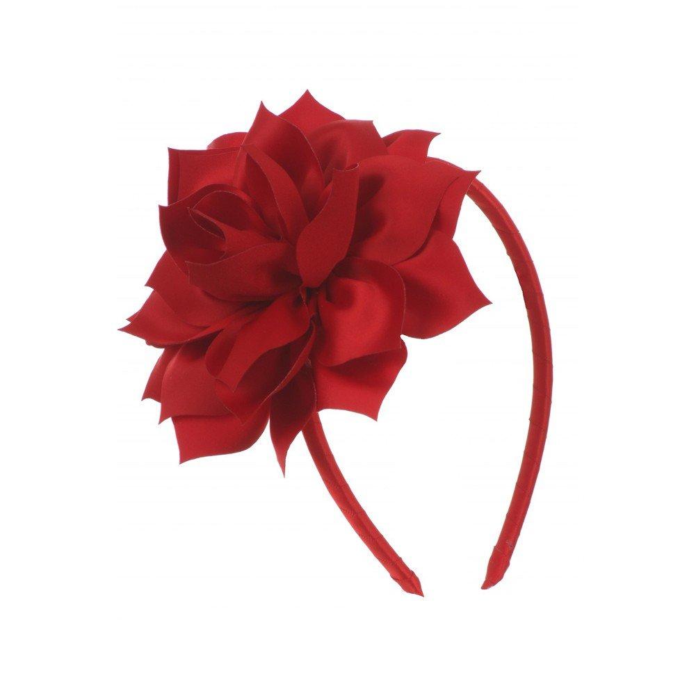 Kids Dream Girls Red Satin Flower Headband