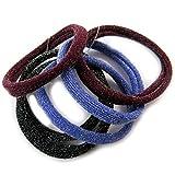 Set of 6 elastics 'Simplicite' black bordeaux blue.