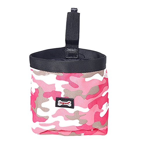 Jocestyle Dog Treat Training Talking Pouch Bag Waterproof Lining with Waist Clip and Drawstring (Pink)