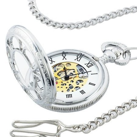 Timepiece Watch Pocket (Kansas City Railroad Pocket Watch- Antique Style - in Silver Tone with Butterfly Hinge and 26