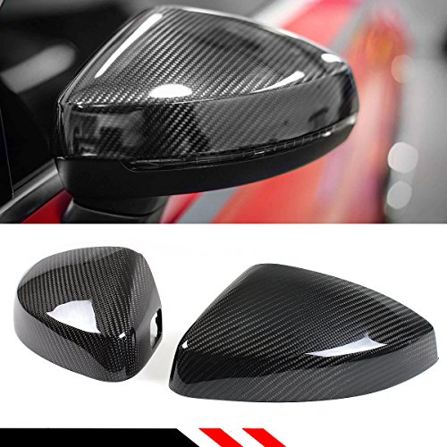 Cuztom Tuning Carbon Fiber Replacement Mirror Covers Case Fits for 2014-2018 Audi A3 S3 RS3 with Lane Assist