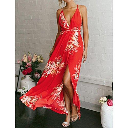 Overdose Rojo Long Vestido De Playa Boho De Ladies Cuello De Vacaciones En Strappy Tirantes Tirantes V Maxi Mujer De Summer Print Vestido 11B8prqw