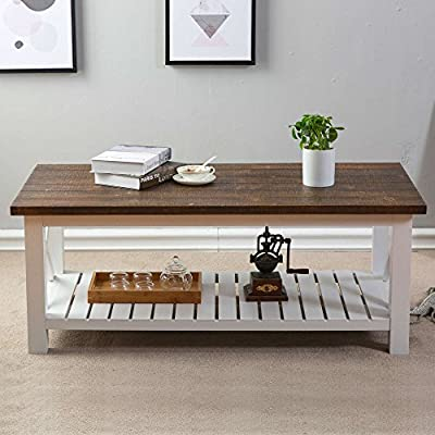 FurniChoi Wood Rustic Coffee Table, Farmhouse Vintage Cocktail Table with Shelf for Living Room,White and Brown
