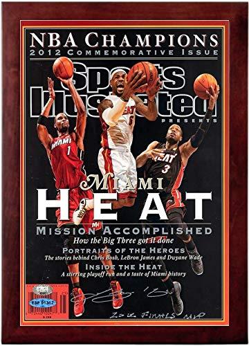 Lebron James, Dwyane Wade Chris Bosh Sports Illustrated Autograph Replica Super Print - Miami Heat - Championship Comm - Miami Heat - 2012 - Framed