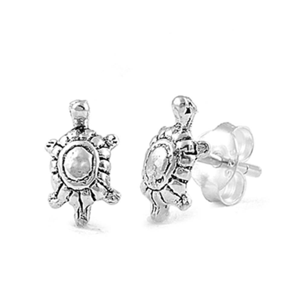 Sterling Silver Turtle Post Stud Earrings 10mm